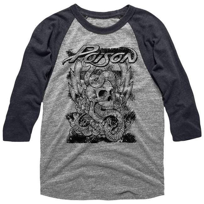 Poison Skull Snake Lightning Heather Adult Raglan Basesball T-Shirt