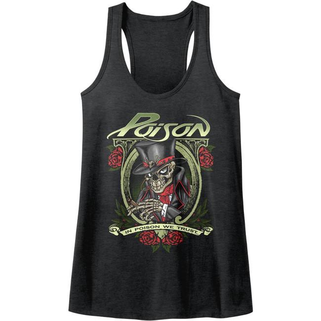 Poison In Poison We Trust Dark Heather Junior Women's Racerback Tank Top T-Shirt