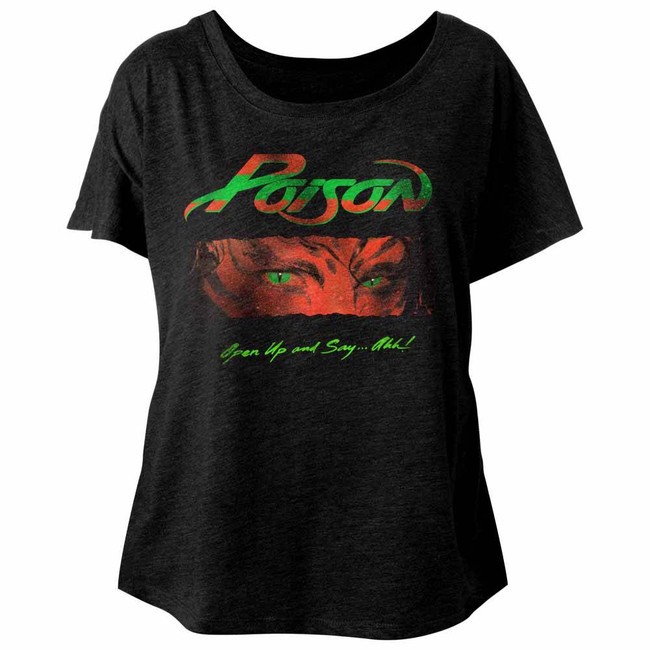 Poison Open Up And Say Ahh Vintage Black Junior Women's Dolman T-Shirt