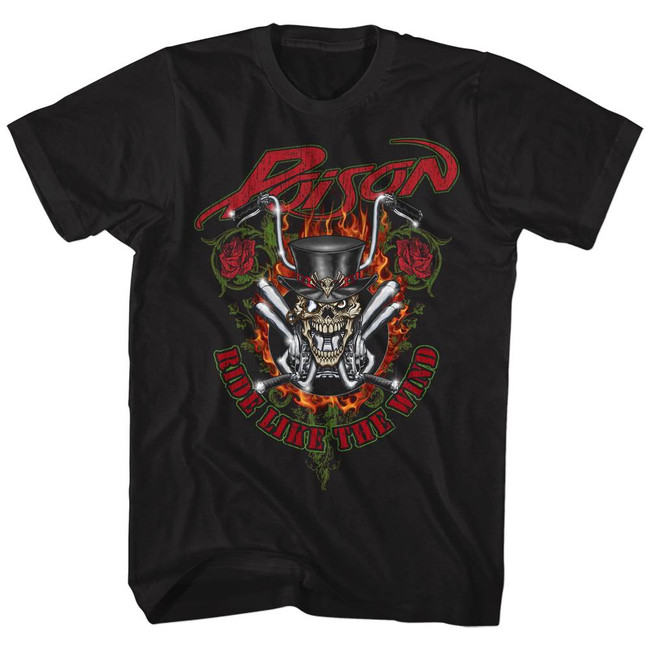 Poison Ride Like The Wind Black Adult T-Shirt