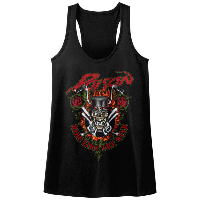 Poison Ride Like The Wind Black Junior Women's Racerback Tank Top T-Shirt