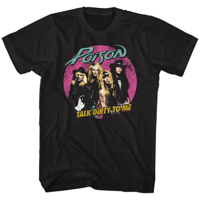 Poison Pink Circle Black Adult T-Shirt