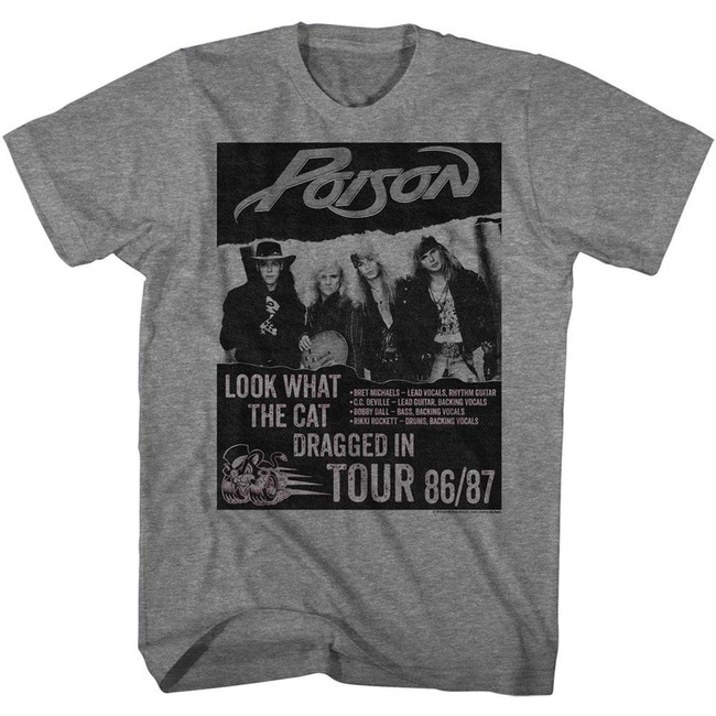 Poison Look What The Cat Dragged In Tour Heather Adult T-Shirt
