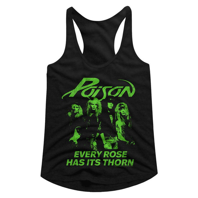 Poison Every Rose Has Its Thorn Black Junior Women's Racerback Tank Top T-Shirt