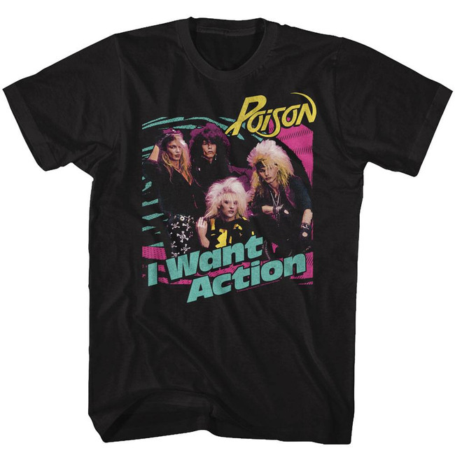 Poison Bright Action Black Adult T-Shirt