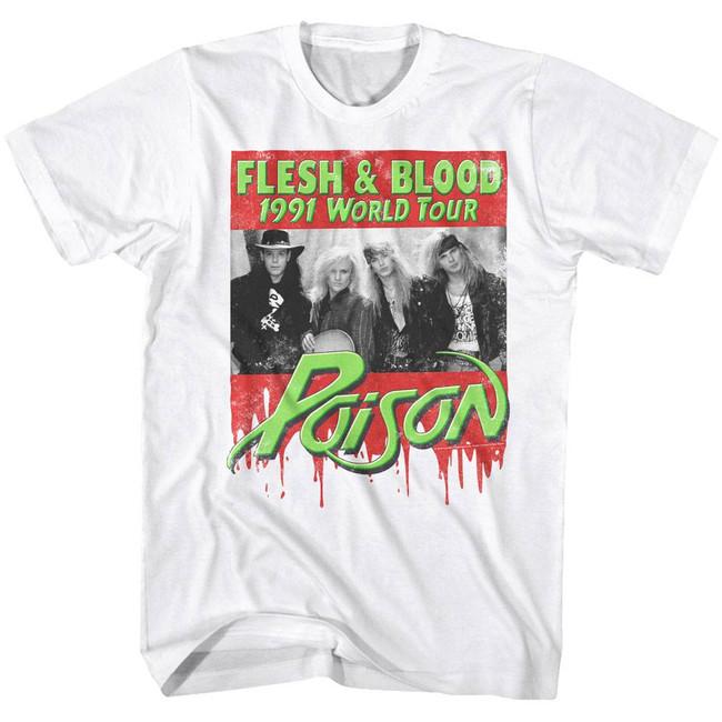 Poison Flesh Blood White Adult T-Shirt