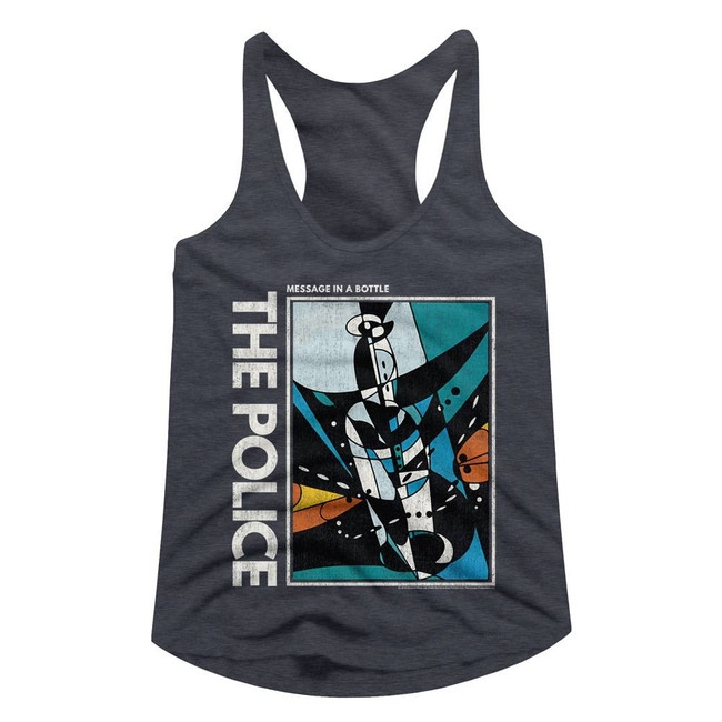 The Police Message In A Bottle Navy Heather Junior Women's Racerback Tank Top T-Shirt