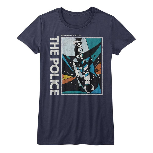 The Police Message In A Bottle Navy Junior Women's T-Shirt