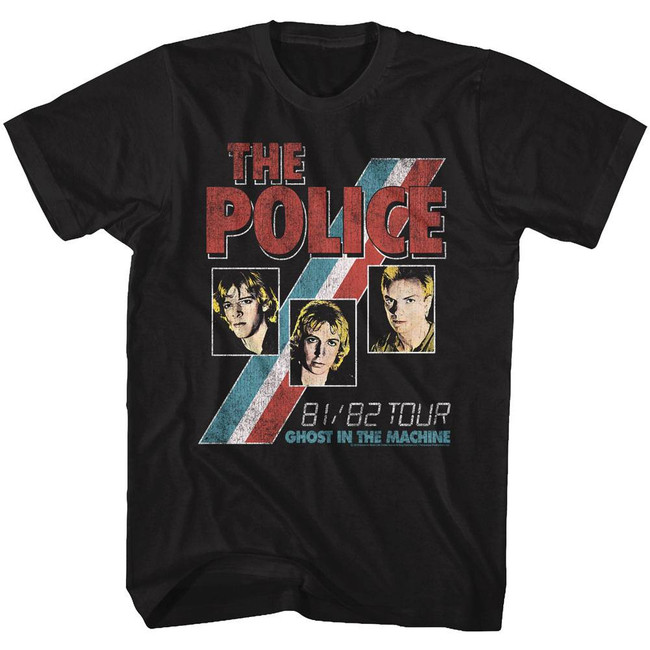 The Police Ghost In The Machine Black Adult T-Shirt