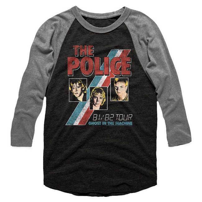 The Police Ghost In The Machine  Black/Heather Adult Raglan Baseball T-Shirt