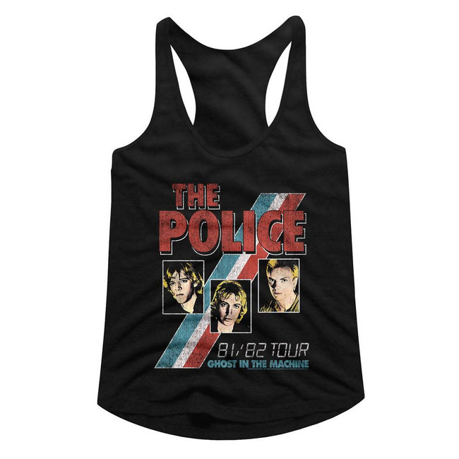 The Police Ghost In The Machine Black Junior Women's Racerback Tank Top T-Shirt
