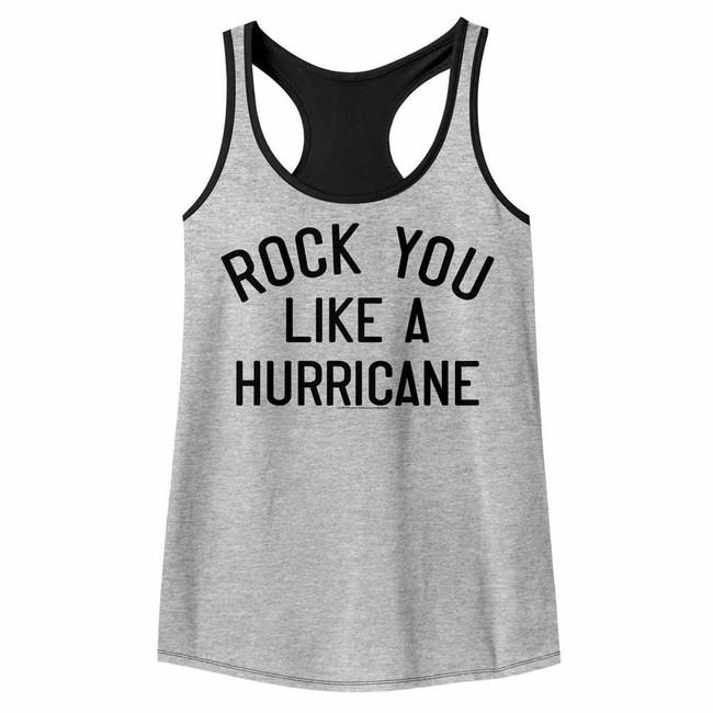 Scorpions Like A Hurricane Gray Heather/Black Color Block Junior Women's Racerback Tank Top