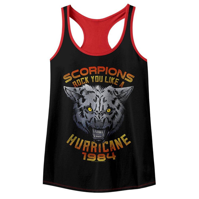 Scorpions Wolf Black/Red Color Block Junior Women's Racerback Tank Top