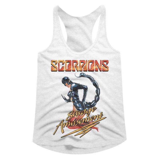 Scorpions Savage A White Junior Women's Racerback Tank Top