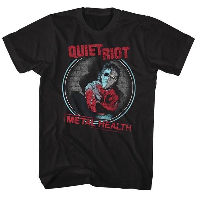 Quiet Riot Metal Health Circle Black Adult T-Shirt