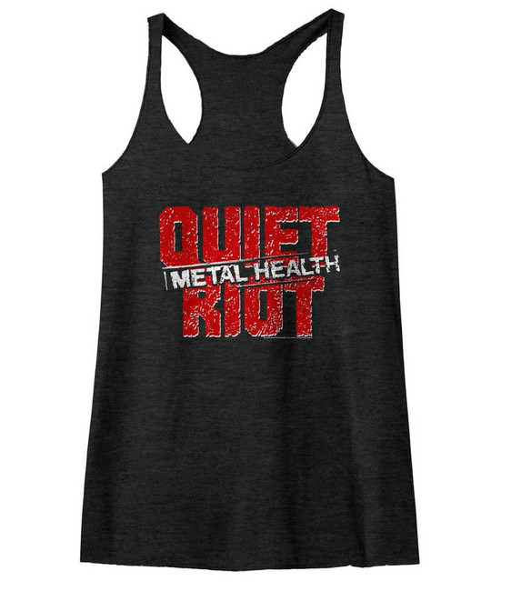 Quiet Riot Black Junior Women's Racerback Tank Top T-Shirt