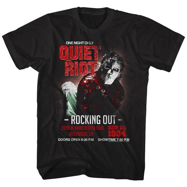 Quiet Riot Rocking Out Black Adult T-Shirt