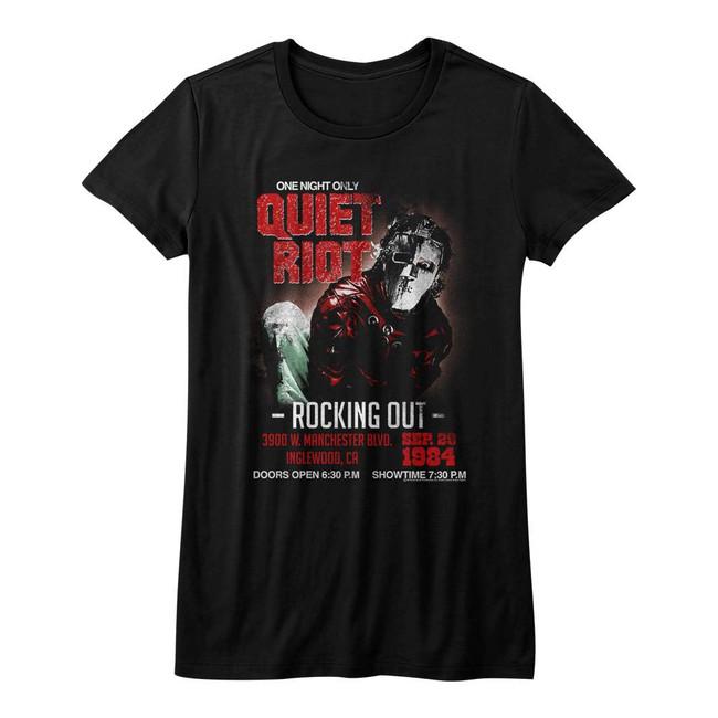Quiet Riot Rocking Out Black Junior Women's T-Shirt