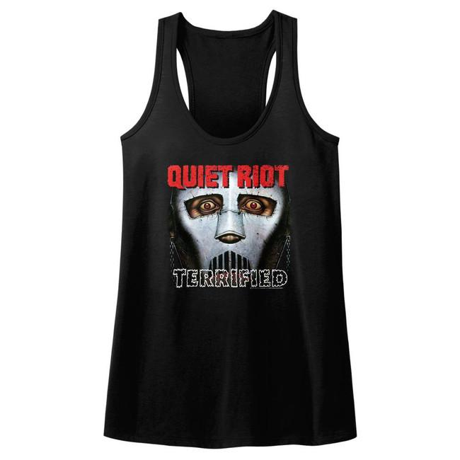 Quiet Riot Terrified Black Junior Women's Racerback Tank Top T-Shirt