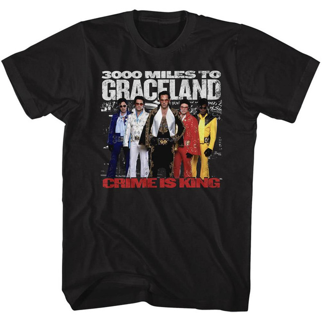 3000 Miles to Graceland The Elvis 5 Black Adult T-Shirt