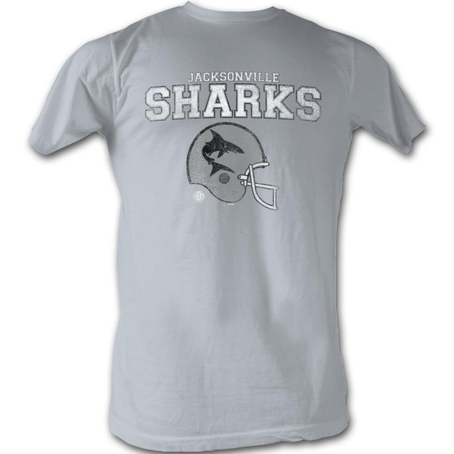 World Football League WFL Jacksonville Sharks Silver Adult T-Shirt