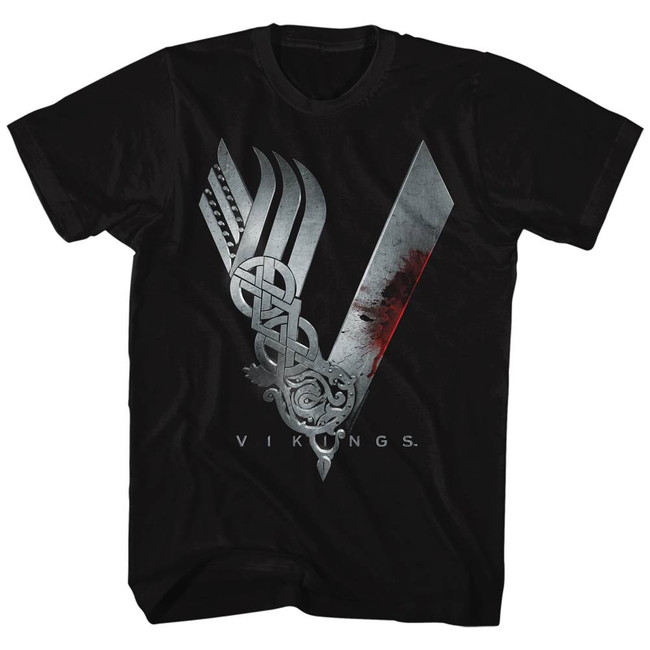 Vikings Logo Black Adult T-Shirt