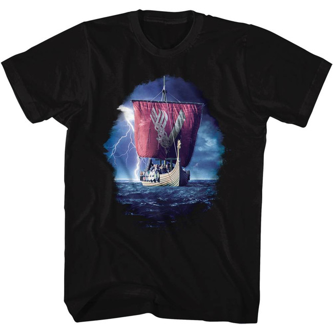 Vikings Ship Black Adult T-Shirt
