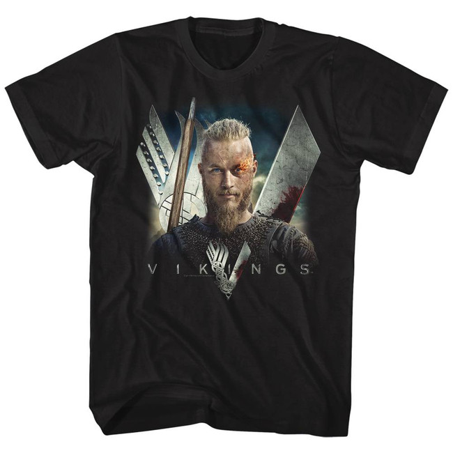 Vikings Flame Black Adult T-Shirt