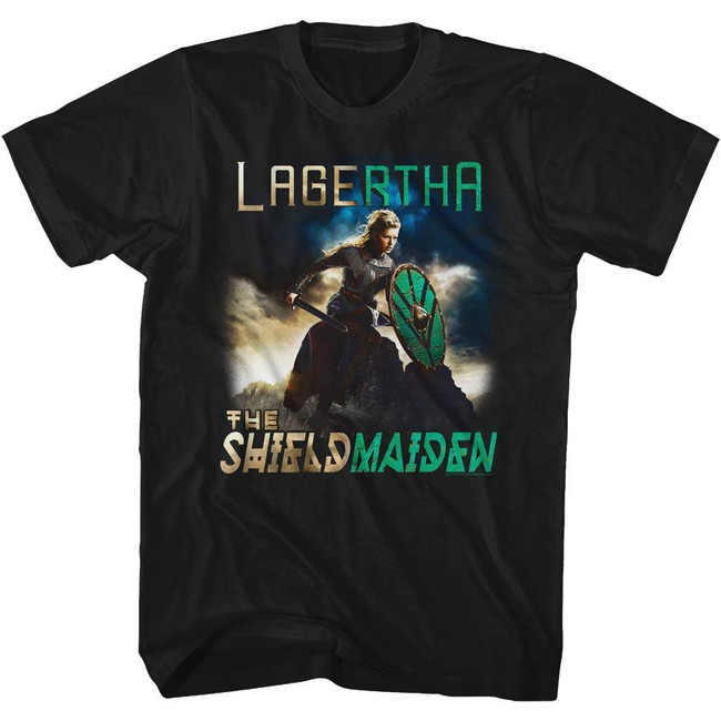 Vikings Shield Maiden Black Adult T-Shirt