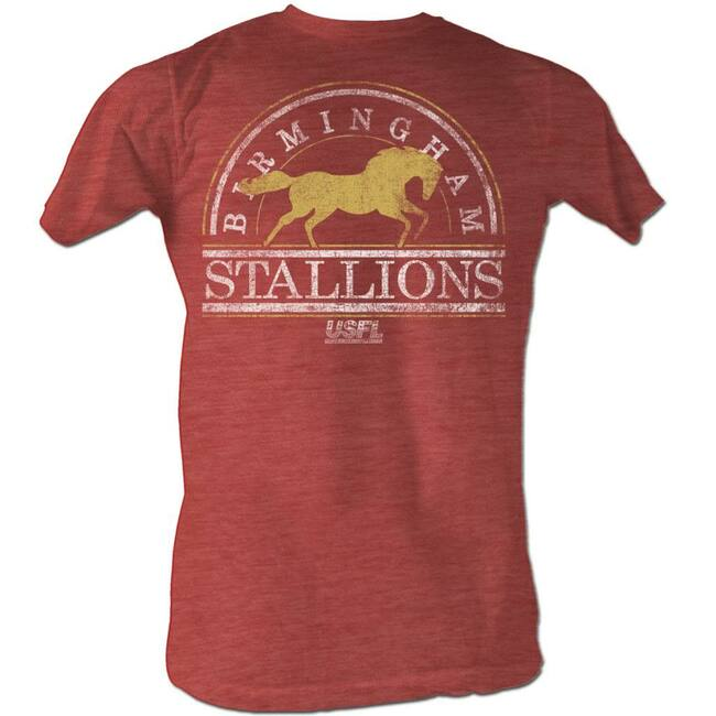 United States Football League USFL Bham Stallions2 Red Heather Adult T-Shirt