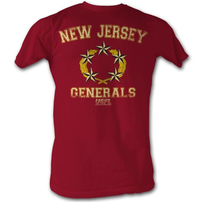United States Football League USFL Generals Cherry Heather Adult T-Shirt