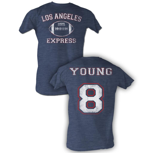 United States Football League USFL Young Navy Heather Adult T-Shirt