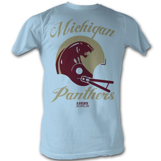 United States Football League USFL Panthers Light Blue Adult T-Shirt