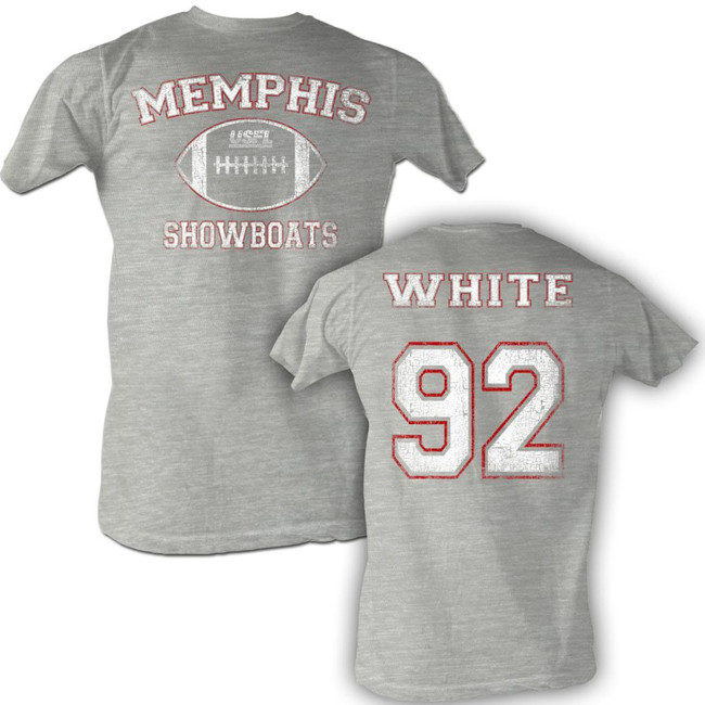 United States Football League USFL White Gray Heather Adult T-Shirt