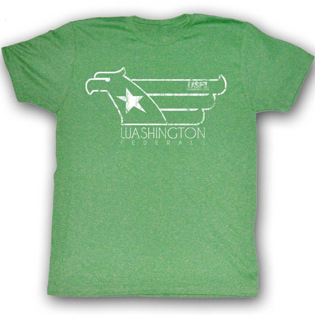 United States Football League USFL White Hawk Kelly Heather Adult T-Shirt