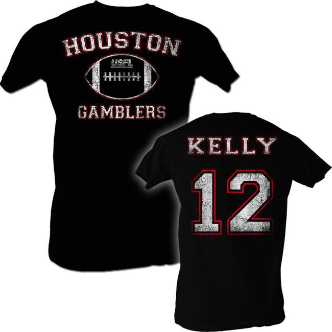 United States Football League USFL Kelly Black Adult T-Shirt