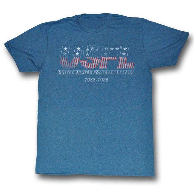 United States Football League USFL Logo Tee Pacific Blue Heather Adult T-Shirt