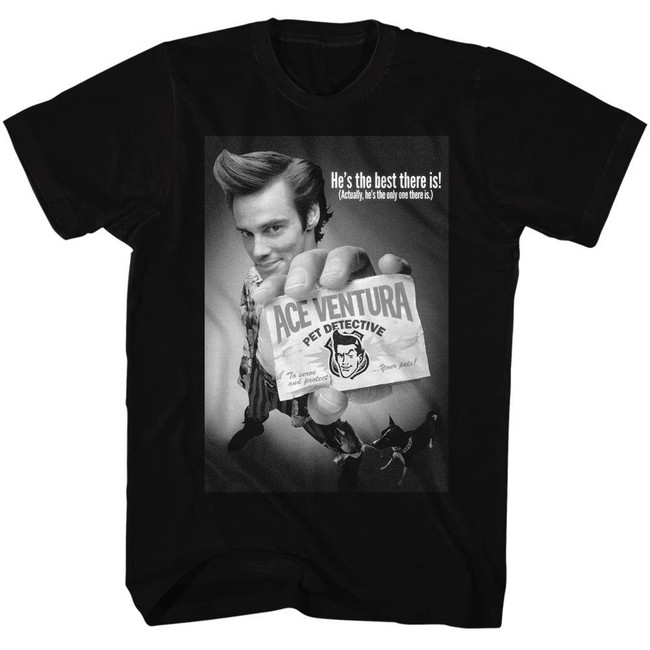Ace Ventura Black And White Movie Poster Adult T-Shirt