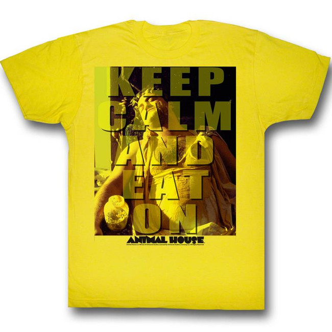 Animal House Eat On Yellow Adult T-Shirt