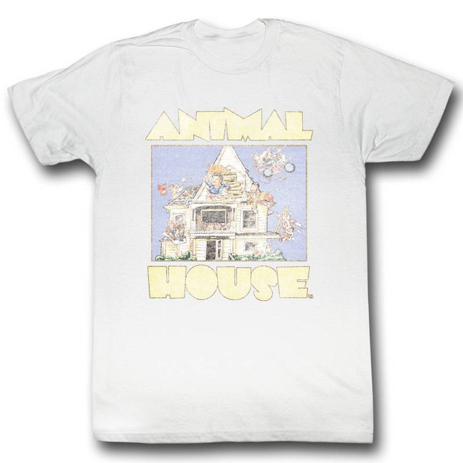 Animal House Cartoon White Adult T-Shirt