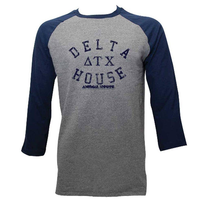 Animal House Delta House Heather/Dark Navy Adult Raglan Baseball T-Shirt
