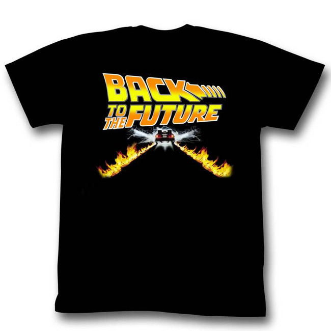 Back to the Future Car Flames Black Adult T-Shirt