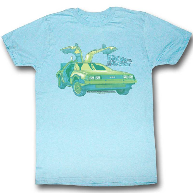 Back to the Future Delorean Chillin Light Blue Adult T-Shirt