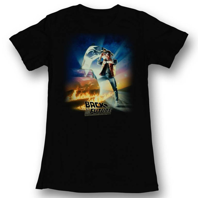 Back to the Future Movie Poster Black Junior Women's T-Shirt