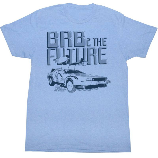 Back to the Future BRB Light Blue Adult T-Shirt