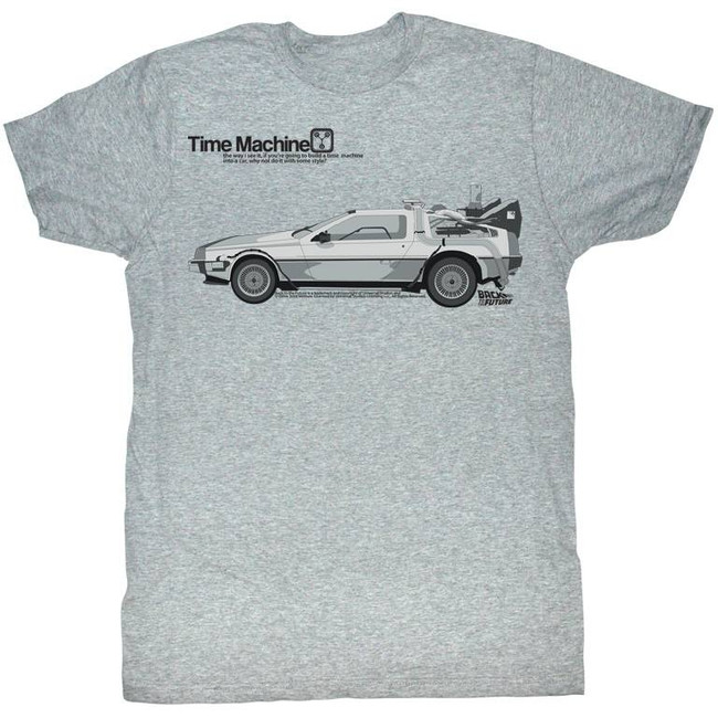 Back to the Future Delorean Gray Adult T-Shirt