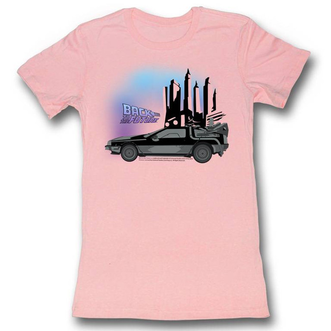 Back to the Future Car Light Pink Junior Women's T-Shirt