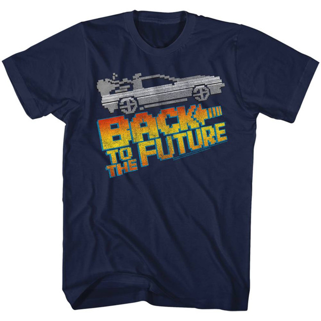 Back to the Future 8-Bit To The Future Navy Adult T-Shirt