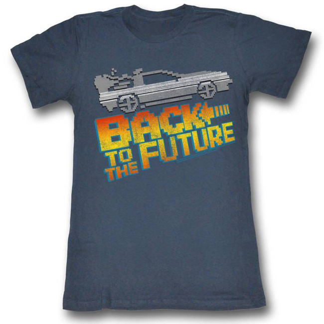 Back to the Future 8-Bit To The Future Navy Junior Women's T-Shirt