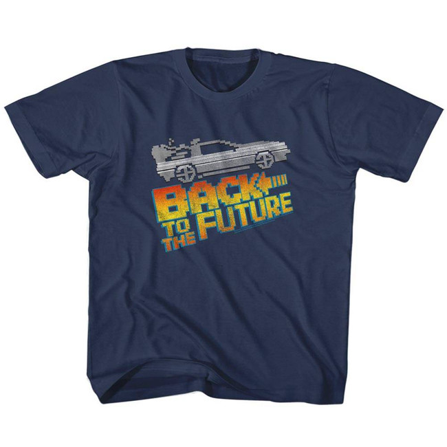 Back to the Future 8-Bit To The Future Navy Children's T-Shirt